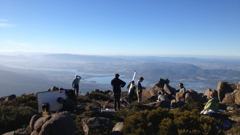 crew on top of Mount Wellington, Hobart
